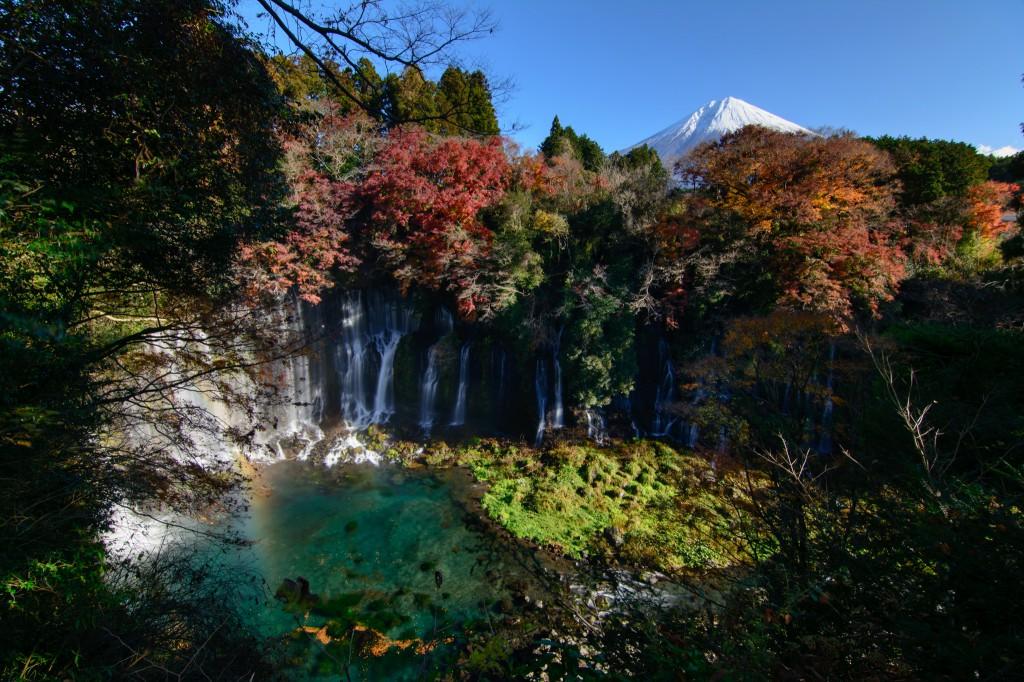 白糸の滝と富士山の紅葉